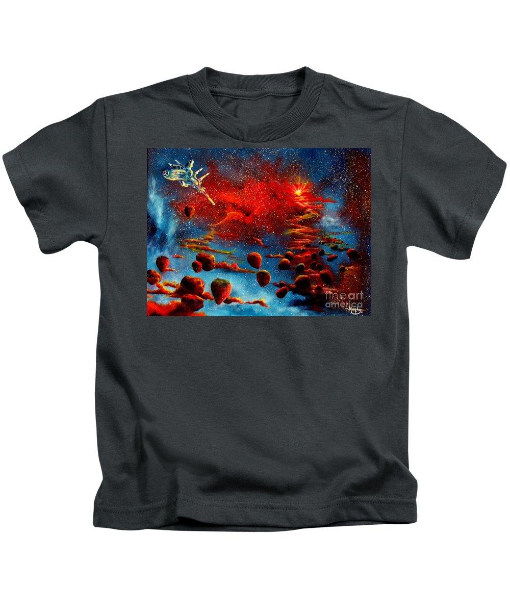 Nova Kids T-Shirt featuring the painting Starberry Nova Alien excape by Murphy Elliott