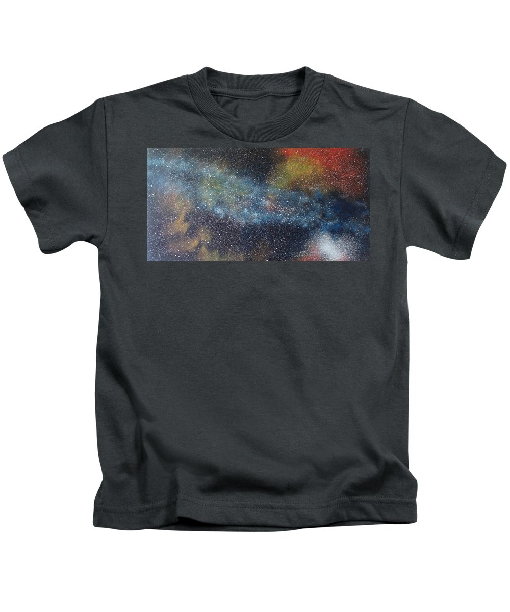 Space;stars;starry;nebula;spiral;galaxy;star Cluster;celestial;cosmos;universe;orgasm Kids T-Shirt featuring the painting Stargasm by Sean Connolly