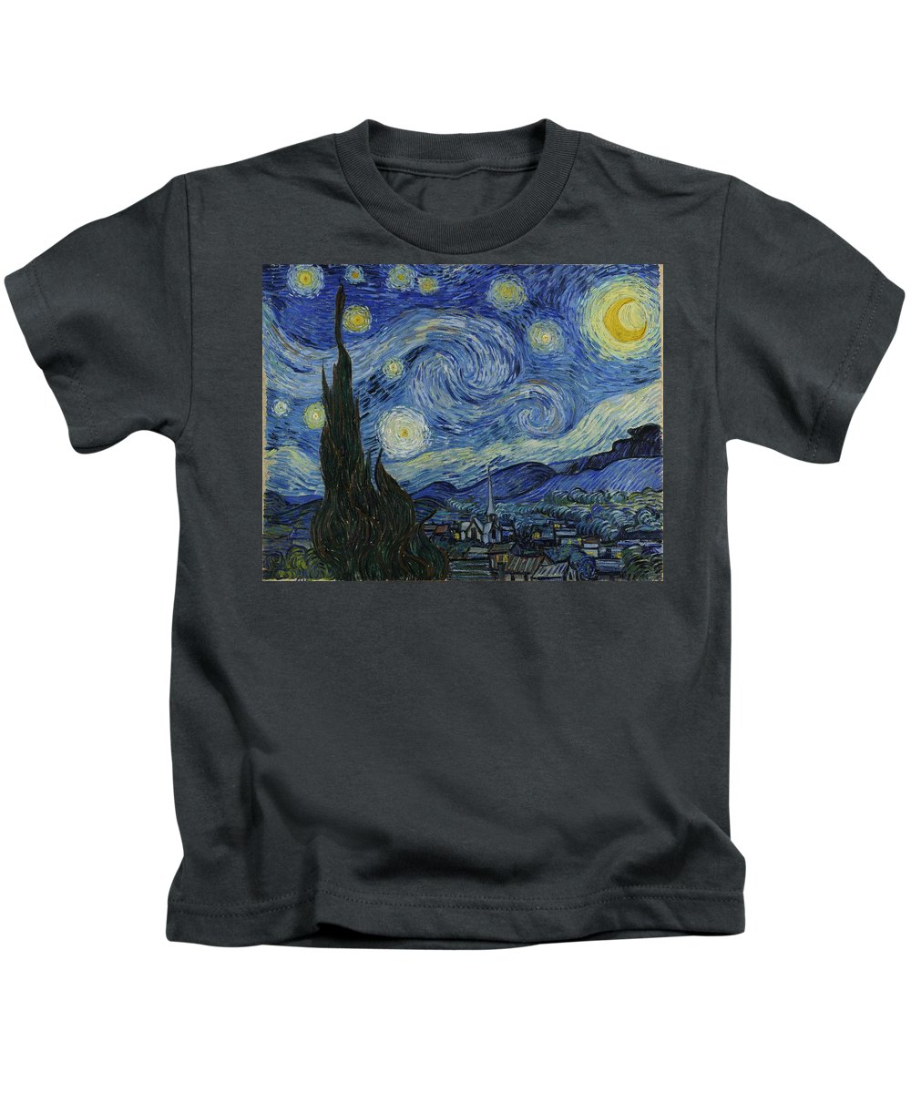 Vincent Van Gogh Kids T-Shirt featuring the painting Starry Night by Masterpieces Of Art Gallery