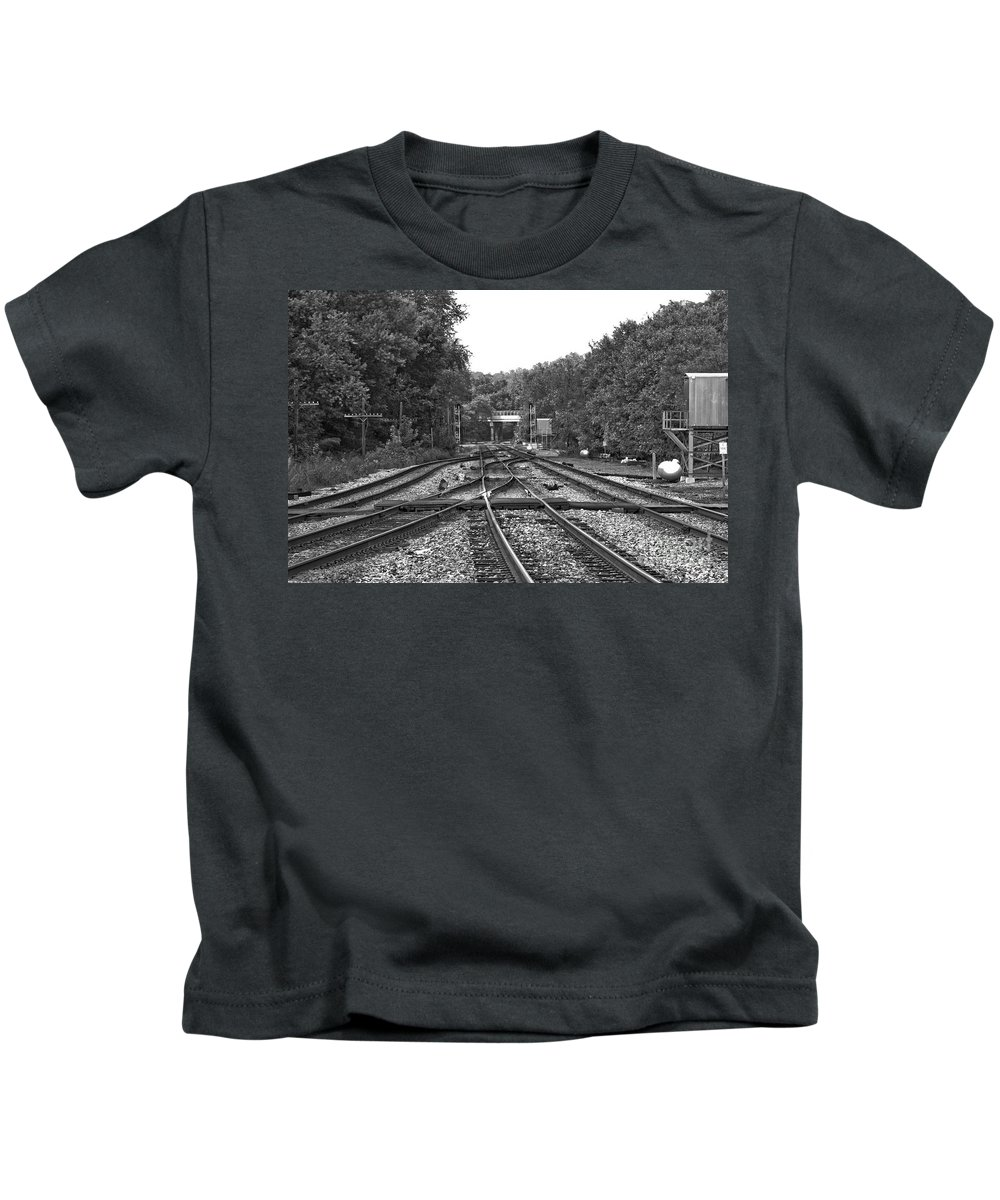 Railroad Kids T-Shirt featuring the photograph Steel Rail Intersections.  Point Of Rocks Md by Thomas Marchessault