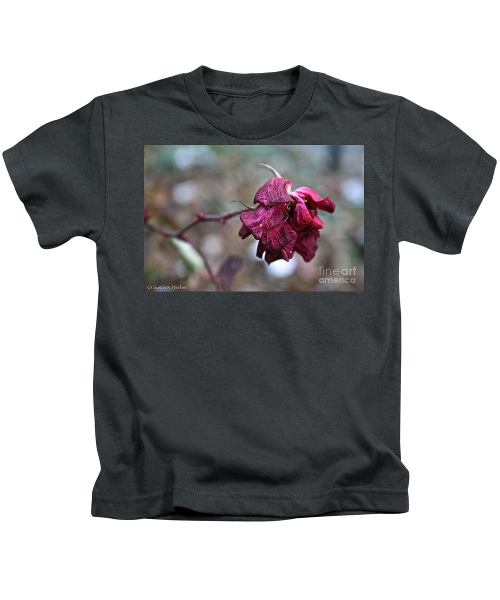 Flower Kids T-Shirt featuring the photograph Stem Dried Petals by Susan Herber