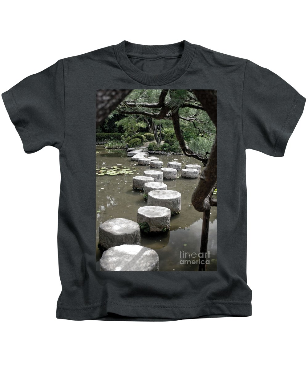 Kyoto Kids T-Shirt featuring the photograph Stepping Stone Kyoto Japan by Thomas Marchessault