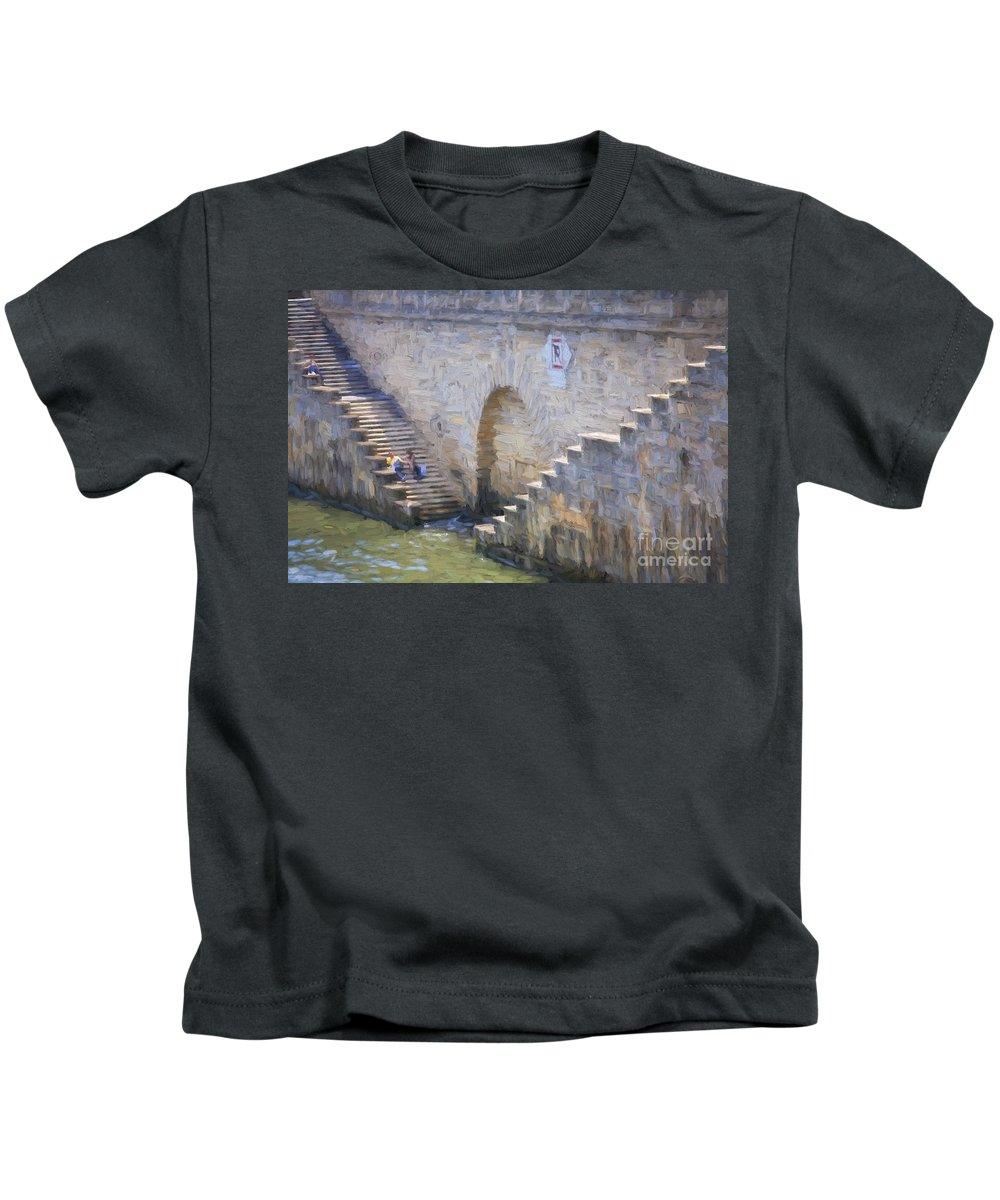 Steps Kids T-Shirt featuring the photograph Steps on Seine riverbank by Sheila Smart Fine Art Photography