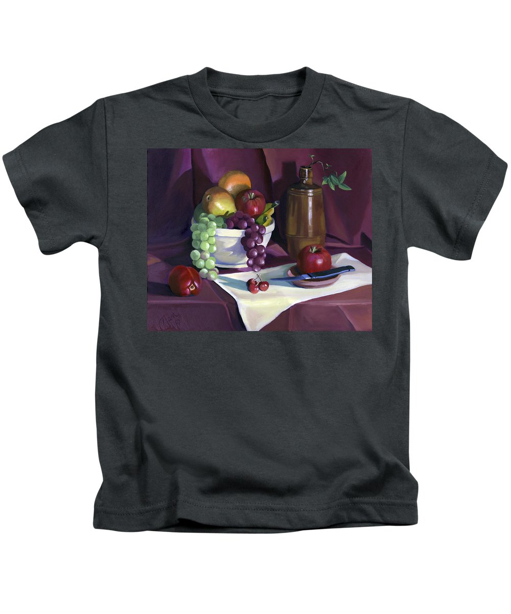 Fine Art Kids T-Shirt featuring the painting Still Life With Apples by Nancy Griswold