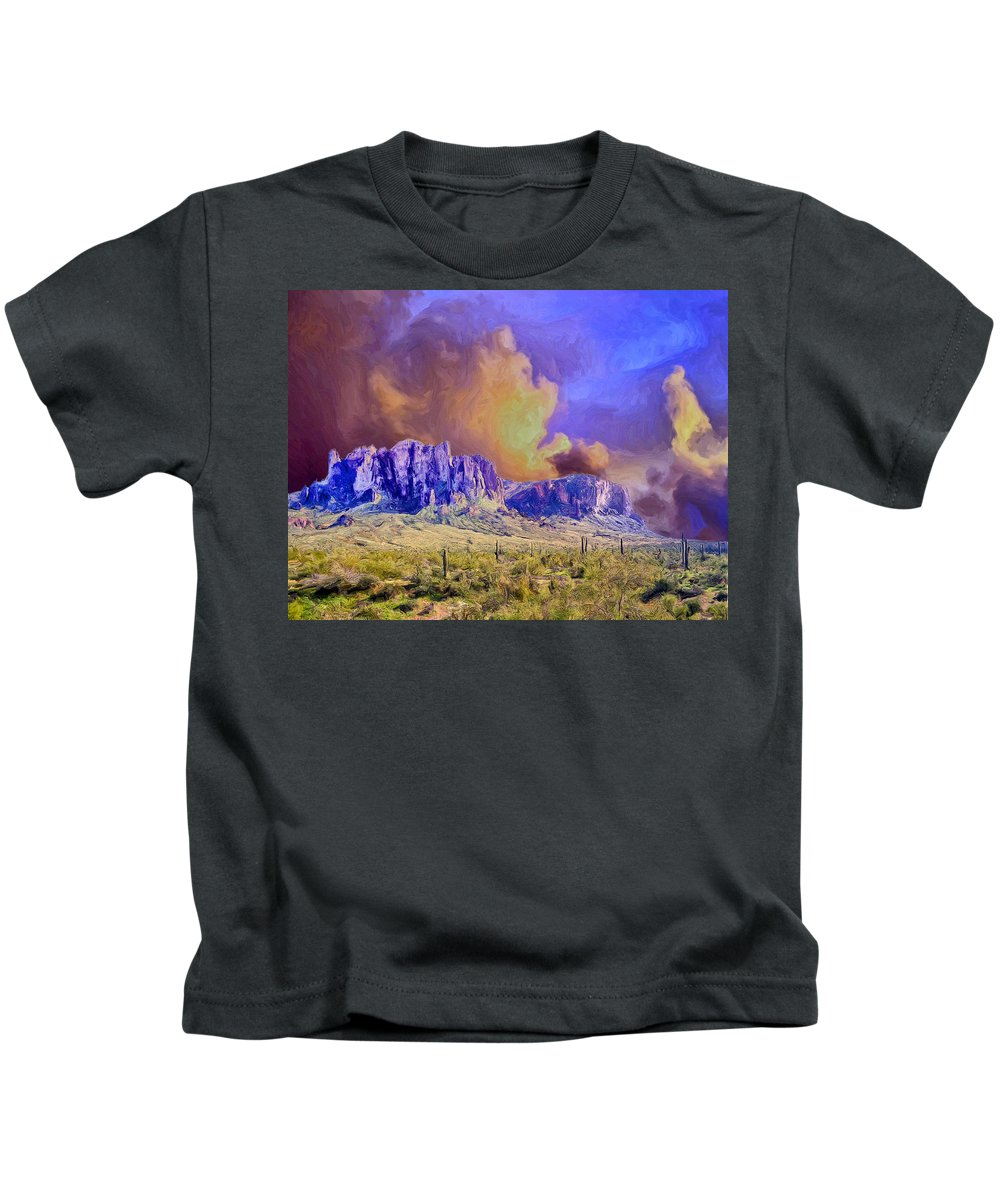Storm Kids T-Shirt featuring the painting Storm Over The Superstitions by Dominic Piperata