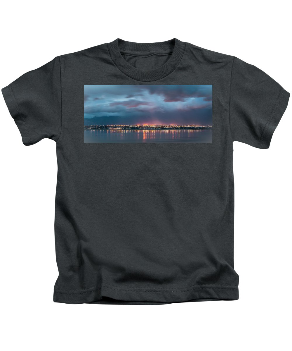 Gigimarie Kids T-Shirt featuring the photograph Stormy Night Lights by Gina Herbert