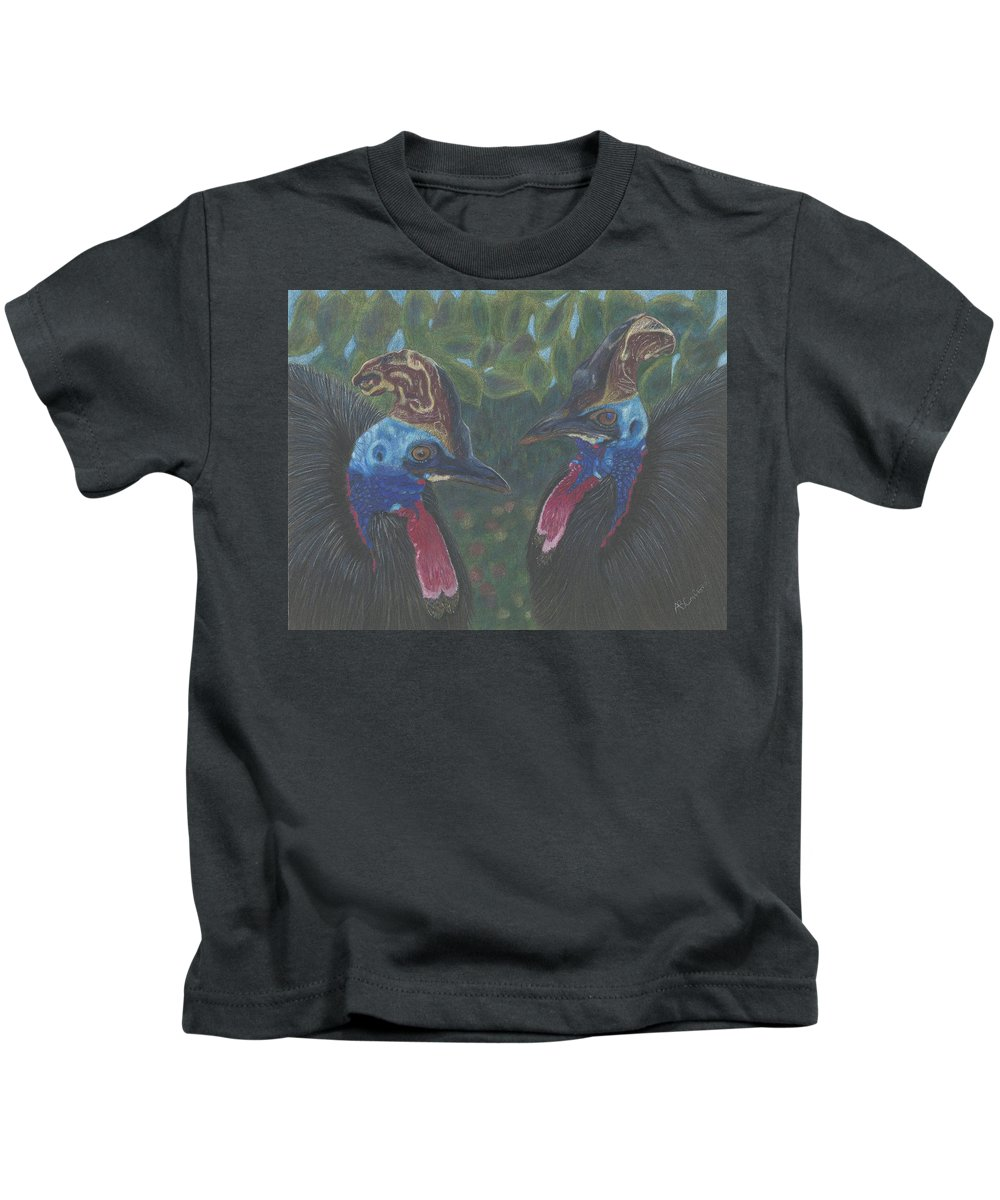 Cassowary Kids T-Shirt featuring the drawing Strange Birds by Arlene Crafton