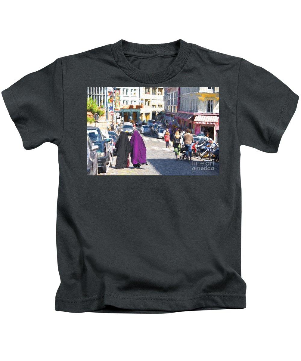 Paris Kids T-Shirt featuring the photograph Street in Montmartre in Paris by Sheila Smart Fine Art Photography