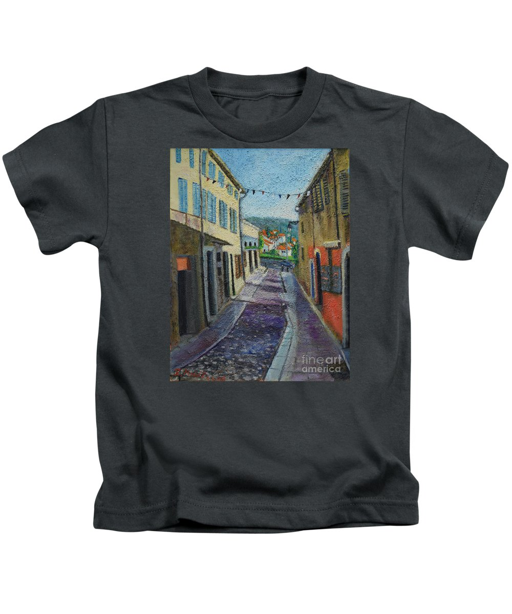 Raija Merila Kids T-Shirt featuring the painting Street View From Provence by Raija Merila