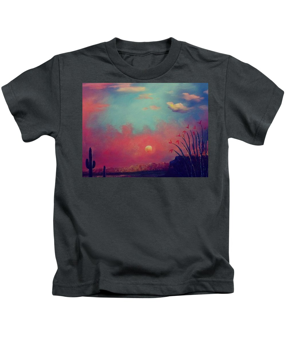 Landscape Kids T-Shirt featuring the painting Stuck In Middle Of Nowhere by Janice MacLellan