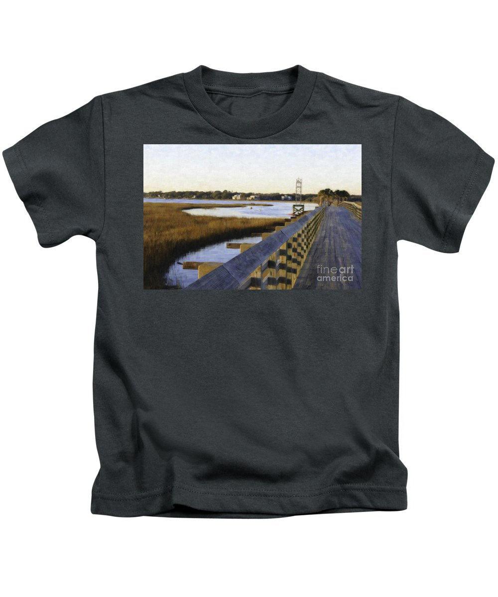 Old Pitt Street Bridge Kids T-Shirt featuring the photograph Sullivan's Island To Old Village by Dale Powell