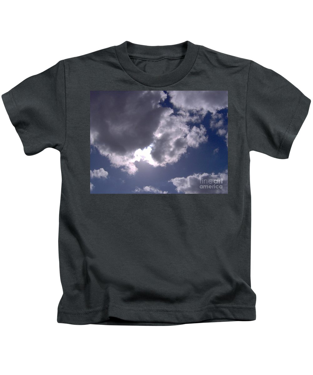 Clouds Kids T-Shirt featuring the photograph Sun Behind The Clouds by D Hackett