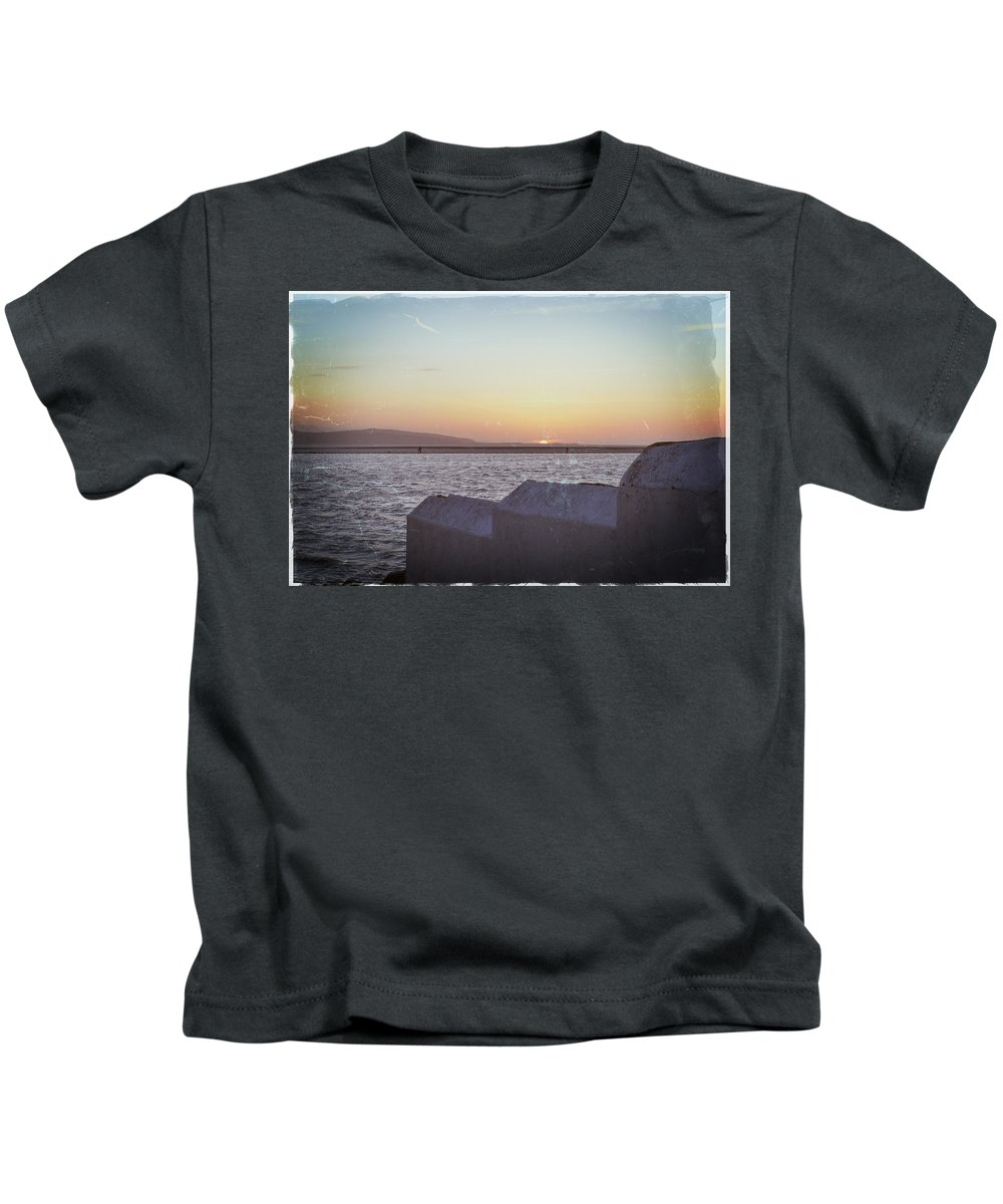 Water Kids T-Shirt featuring the photograph Sun Setting Over Wales by Spikey Mouse Photography