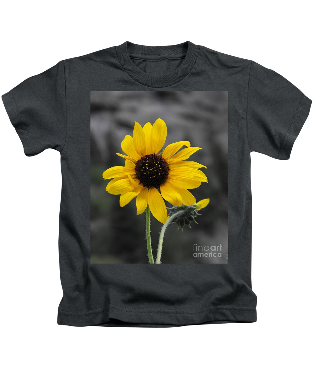 Sunflower Kids T-Shirt featuring the photograph Sunflower On Gray by Rebecca Margraf