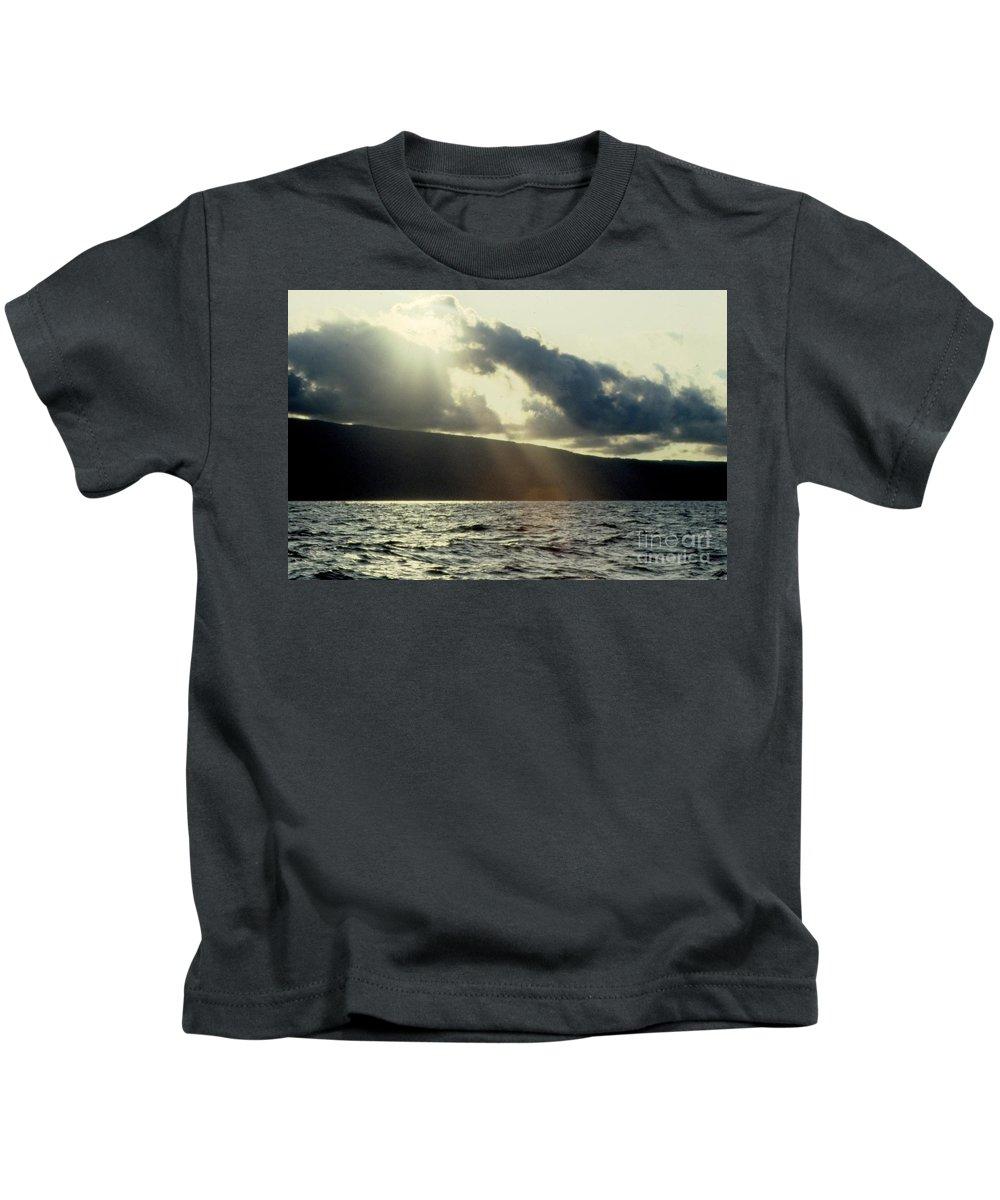 Sunset Kids T-Shirt featuring the photograph Sunlit Rays Before Sunset by Jussta Jussta