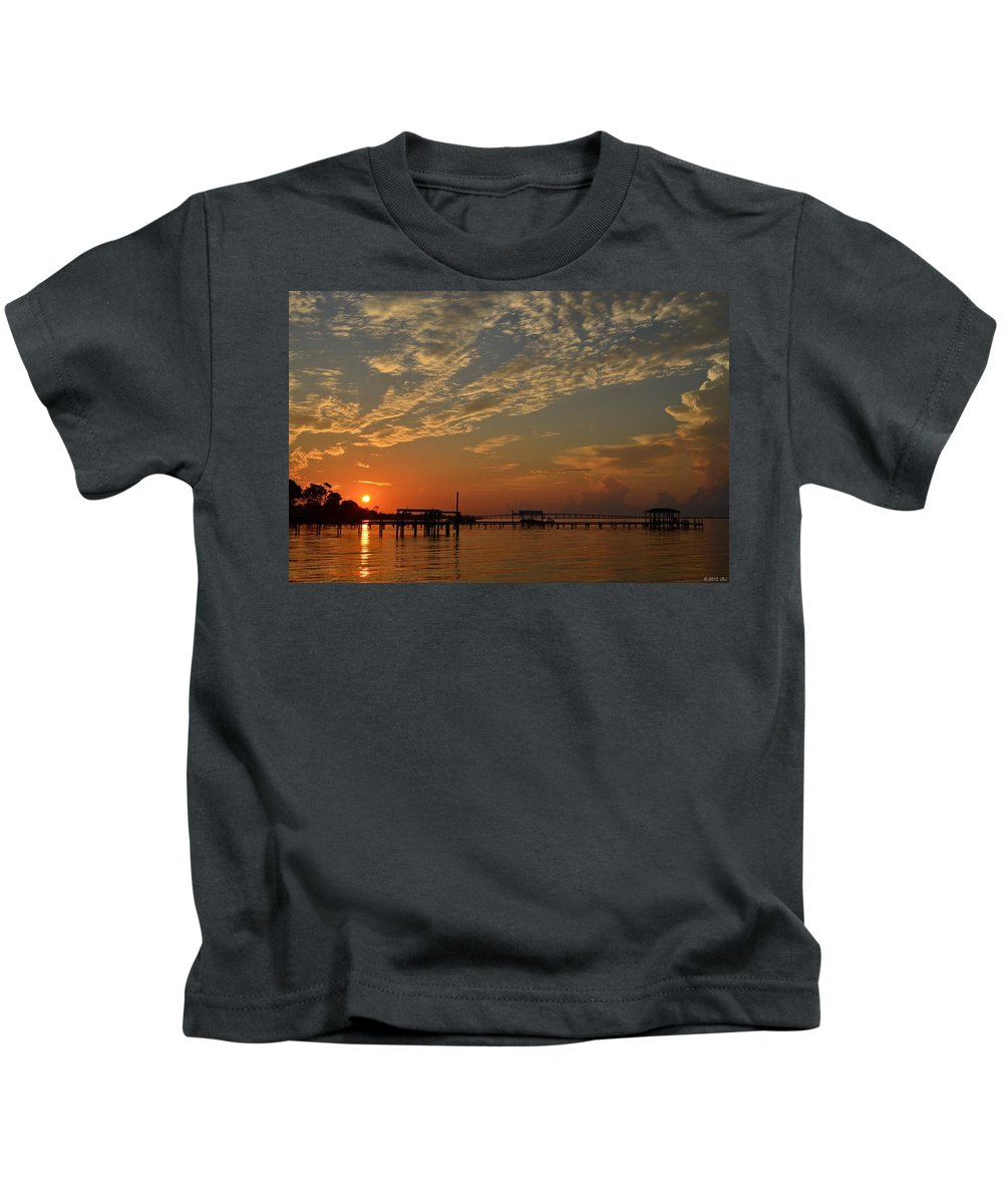 Sunrise Kids T-Shirt featuring the photograph Sunrise Colors With Storms Building On Sound by Jeff at JSJ Photography