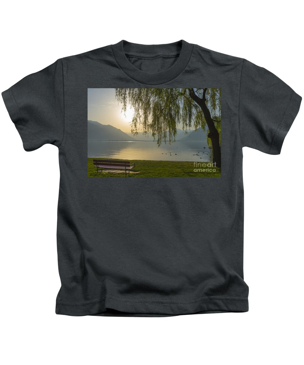 Lake Kids T-Shirt featuring the photograph Sunrise by Mats Silvan