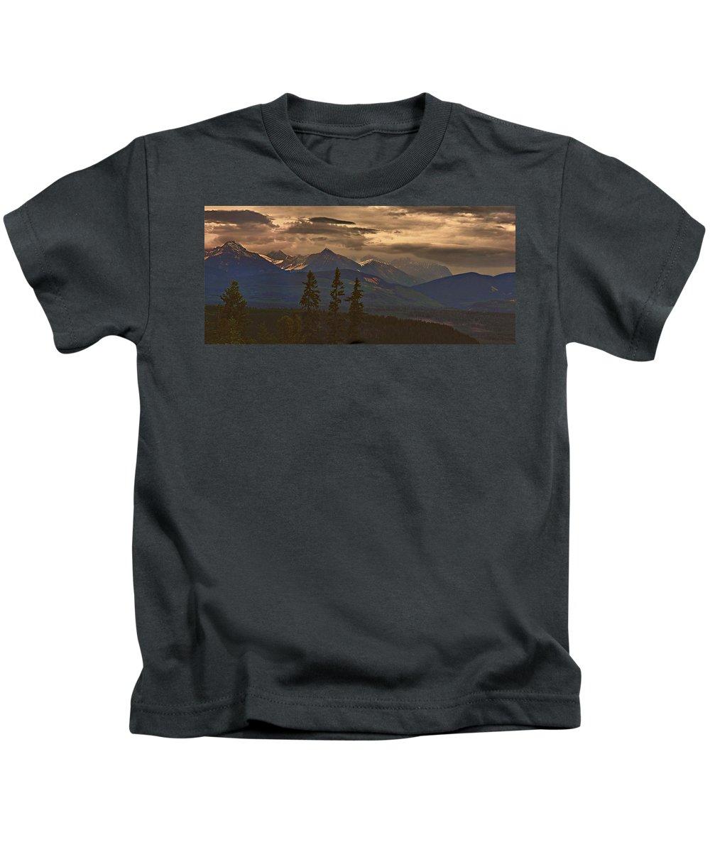 Jann Ashworth Kids T-Shirt featuring the mixed media Sunset In Yoho by Janet Ashworth