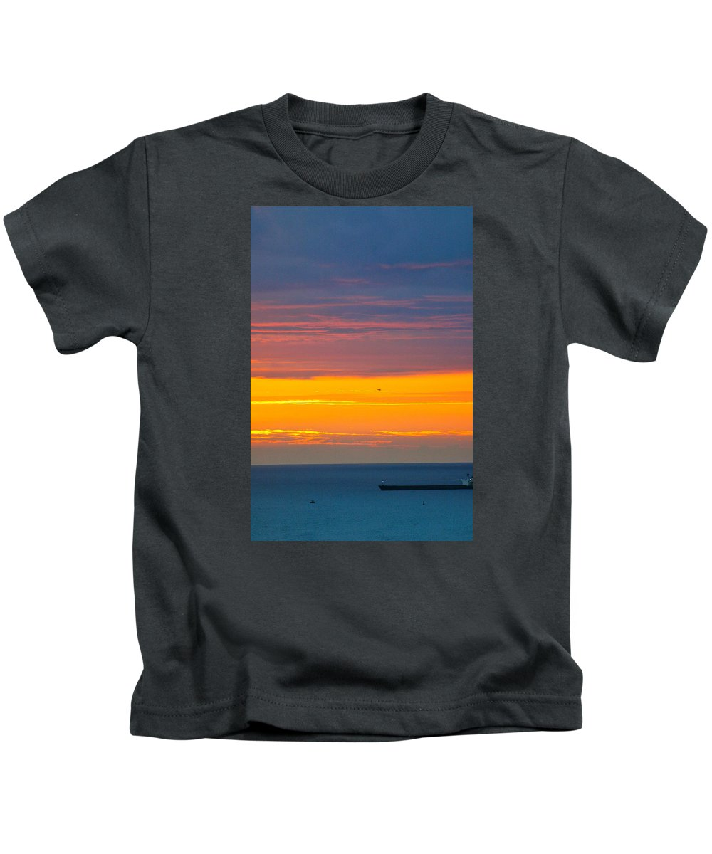 Hawaii Kids T-Shirt featuring the photograph Sunset Near Honolulu Harbor by Lehua Pekelo-Stearns