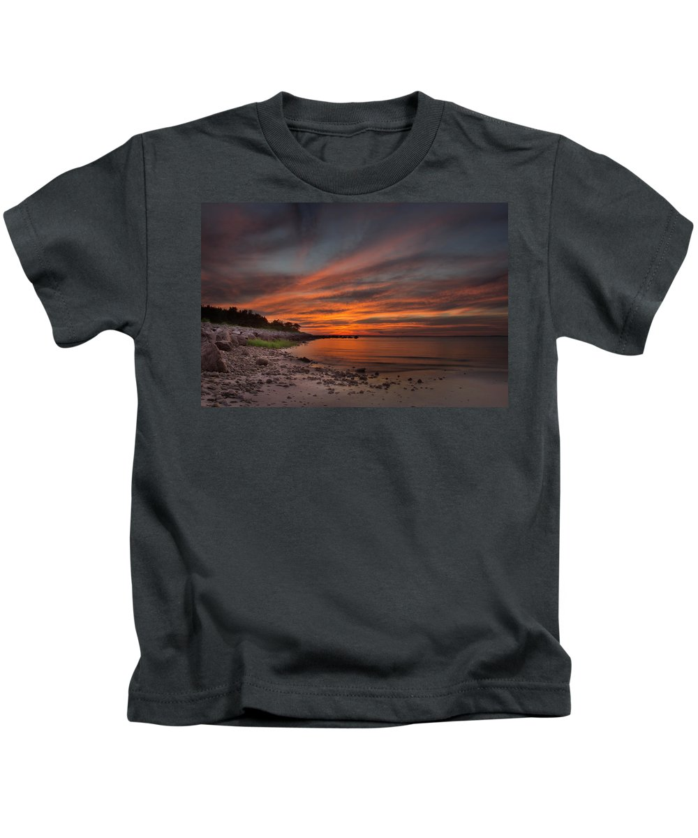 Sunset Photographs Kids T-Shirt featuring the photograph Sunset Over Buzzards Bay by Jonathan Steele