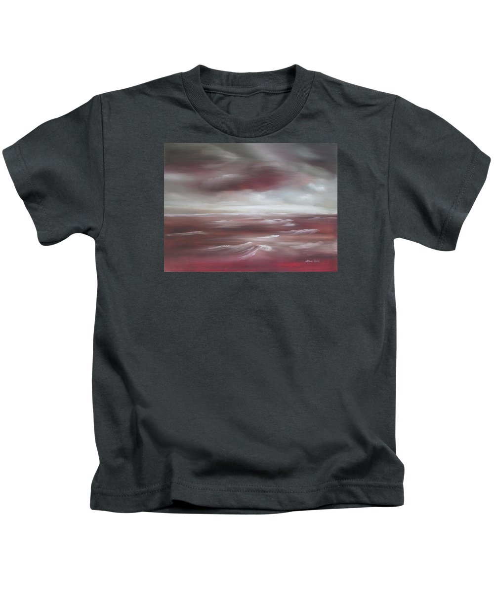 Sunset Kids T-Shirt featuring the painting Sunset Sea by Dawn Nickel