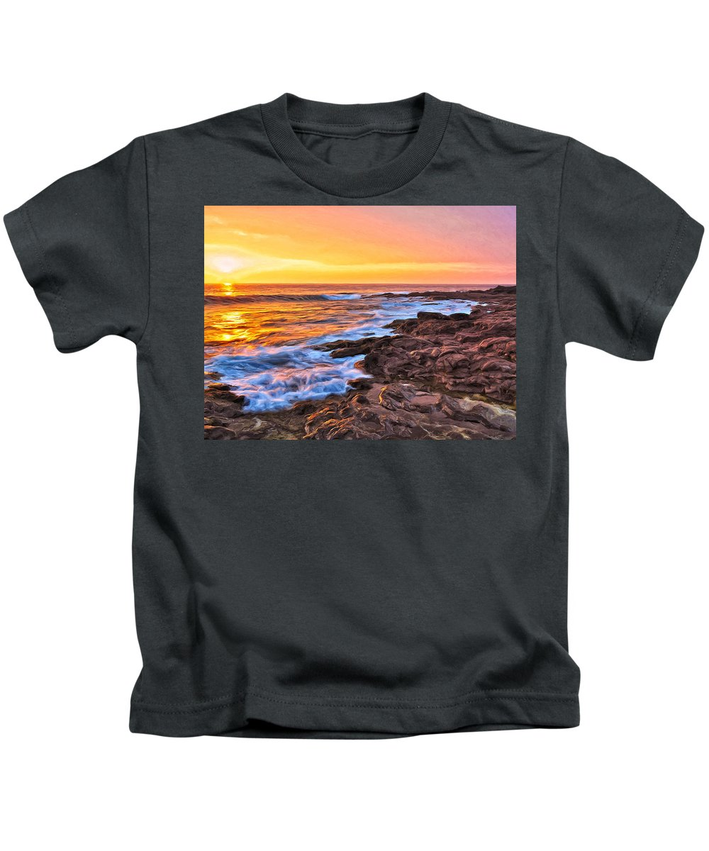 Sunset Kids T-Shirt featuring the painting Sunset Shore Break by Dominic Piperata