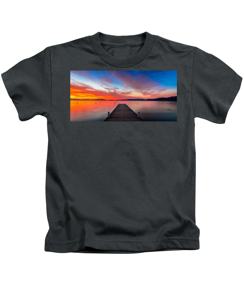 Sunset Kids T-Shirt featuring the photograph Sunset Walkway by Edgars Erglis