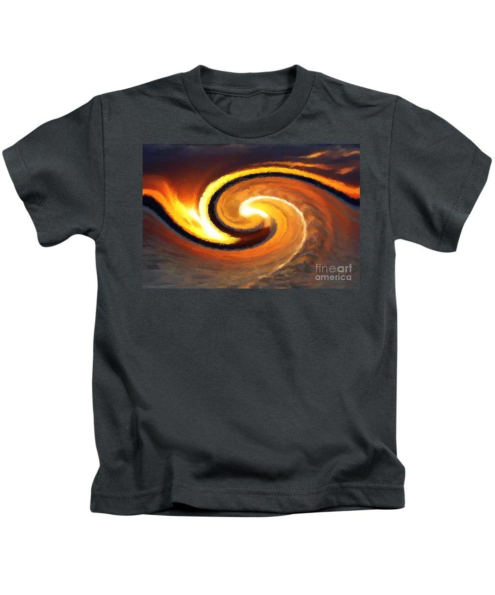 Sunset Kids T-Shirt featuring the digital art Sunset Wave by Chris Butler