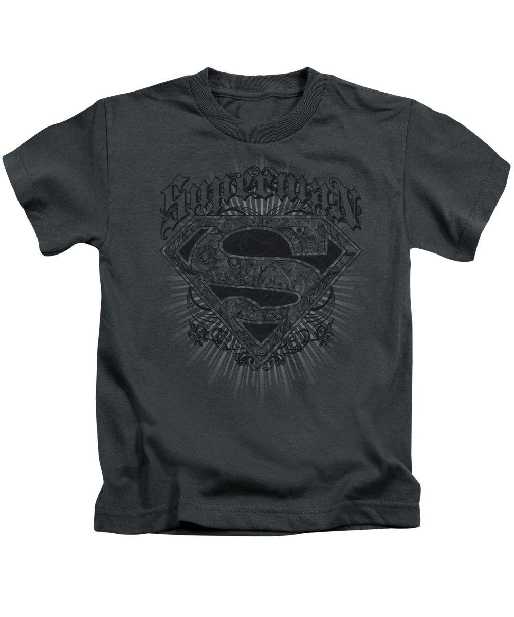 Superman Kids T-Shirt featuring the digital art Superman - Scrolling Shield by Brand A