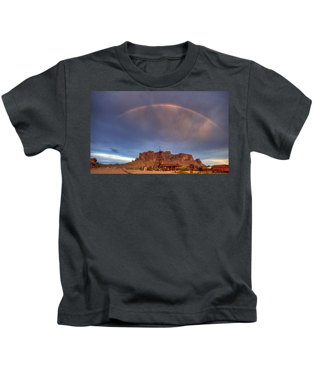 Arizona Kids T-Shirt featuring the photograph Superstition Rainbow by Saija Lehtonen
