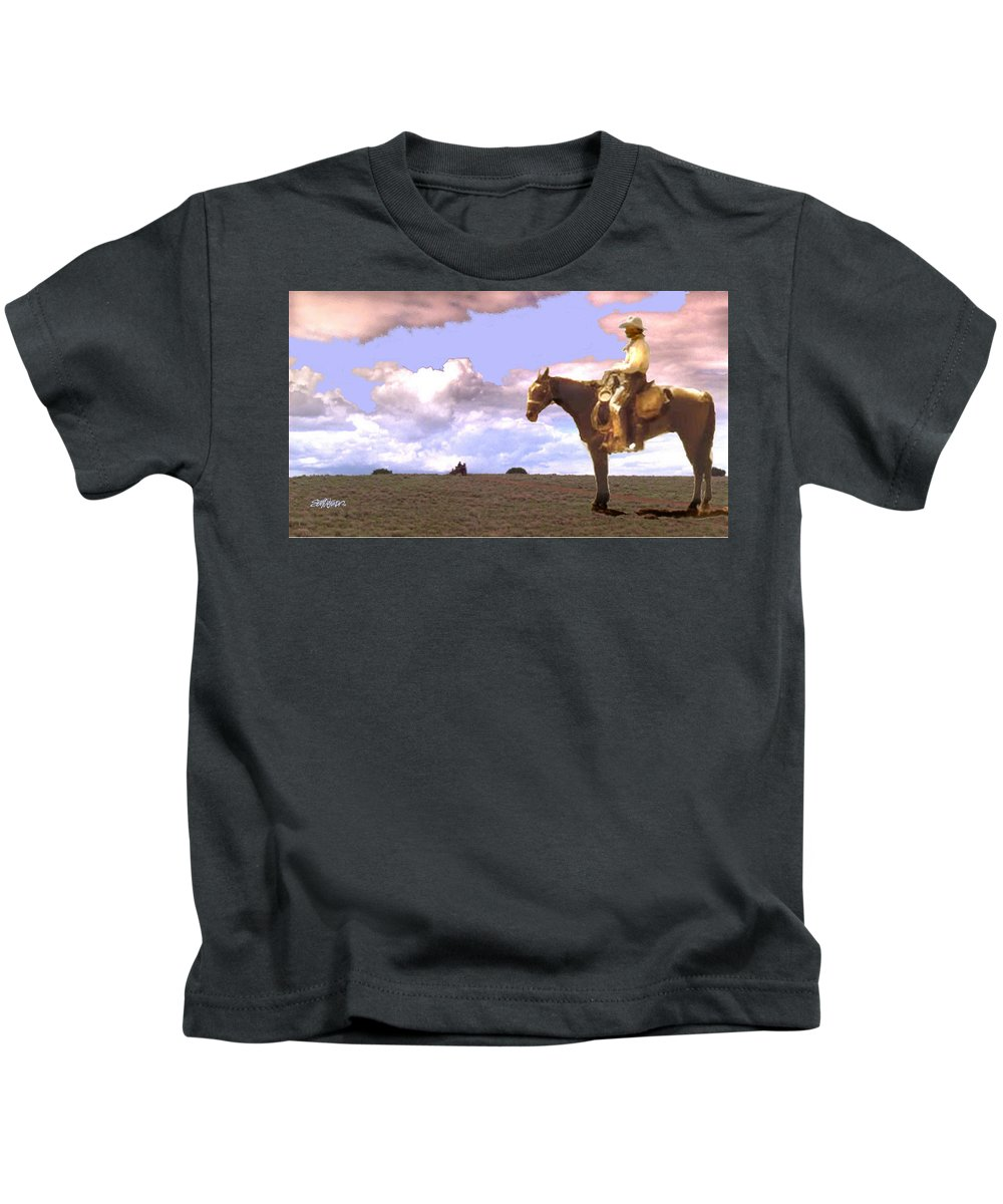Supply Wagon Coming Kids T-Shirt featuring the digital art Supply Wagon Coming by Seth Weaver