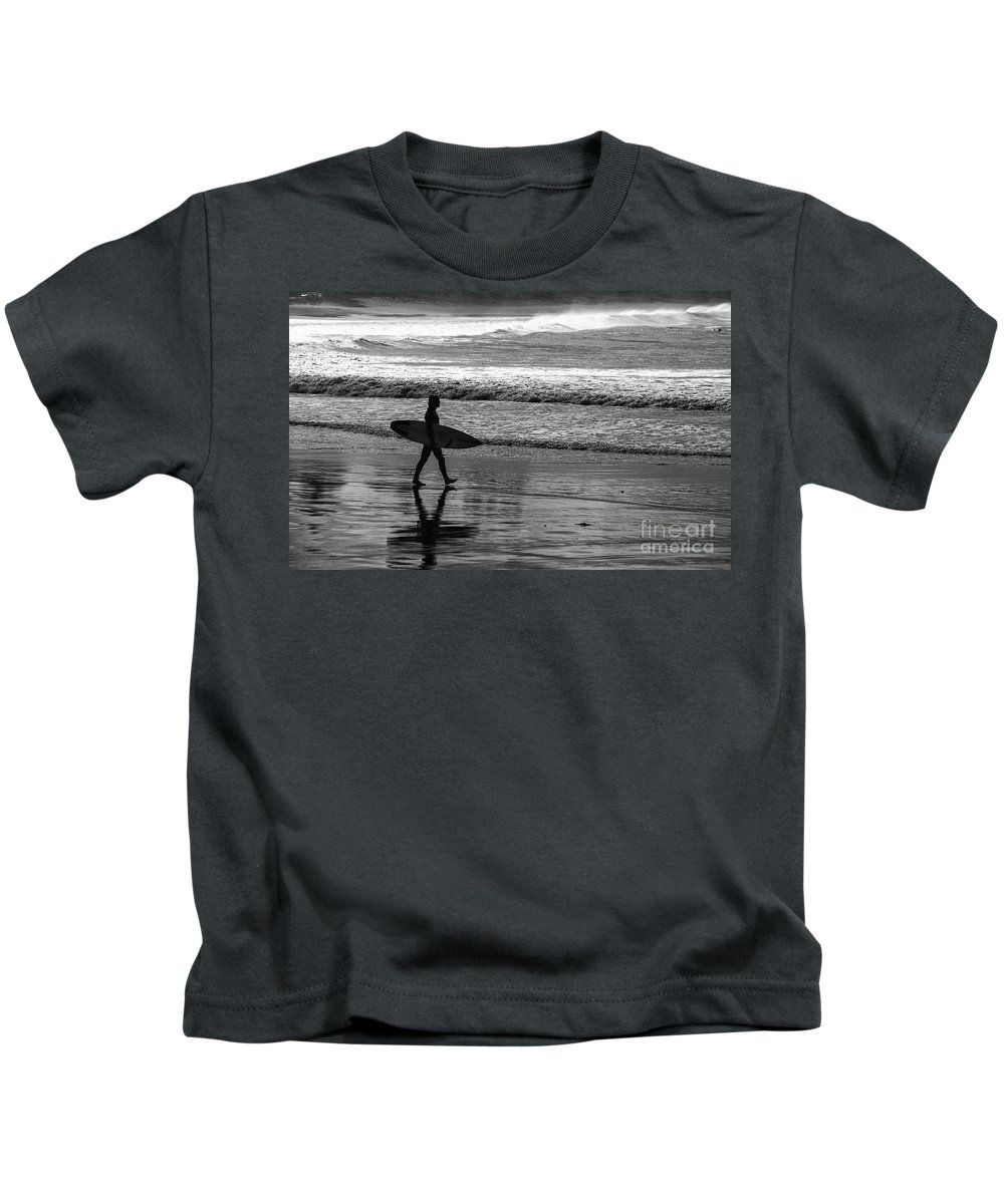 Surfer Kids T-Shirt featuring the photograph Surfer at Palm Beach by Sheila Smart Fine Art Photography