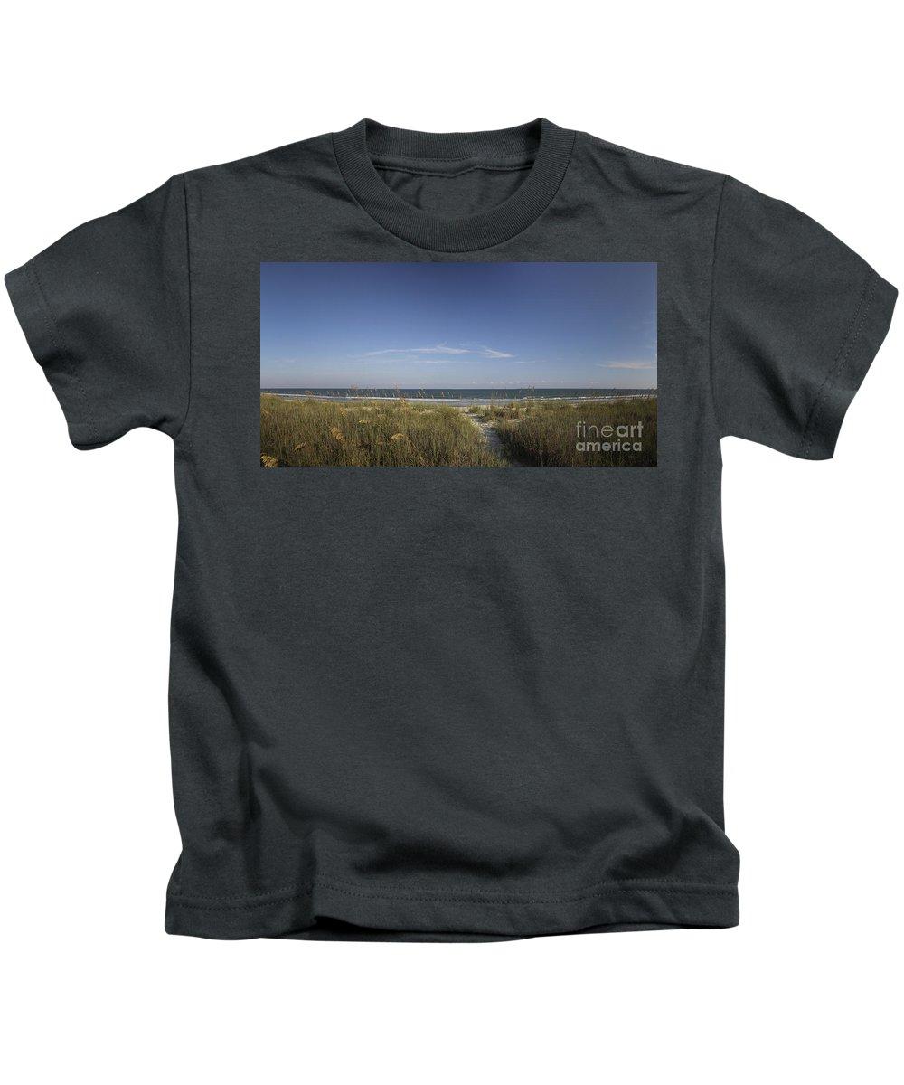 Panorama Kids T-Shirt featuring the photograph Surfside Beach Sc by Teresa Mucha