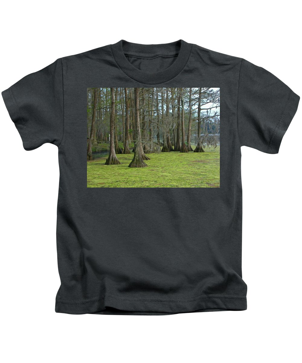 Wilmington Kids T-Shirt featuring the photograph Swamp Music 0830 by Guy Whiteley