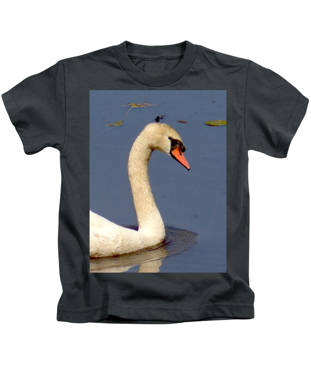 Swan Kids T-Shirt featuring the photograph Swan Glide by Ian Mcadie