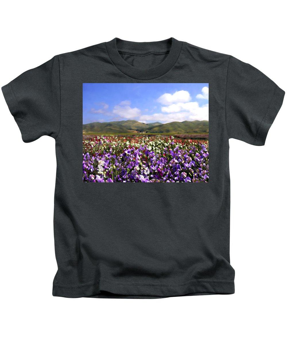 Flowers Kids T-Shirt featuring the photograph Sweet Peas Galore by Kurt Van Wagner