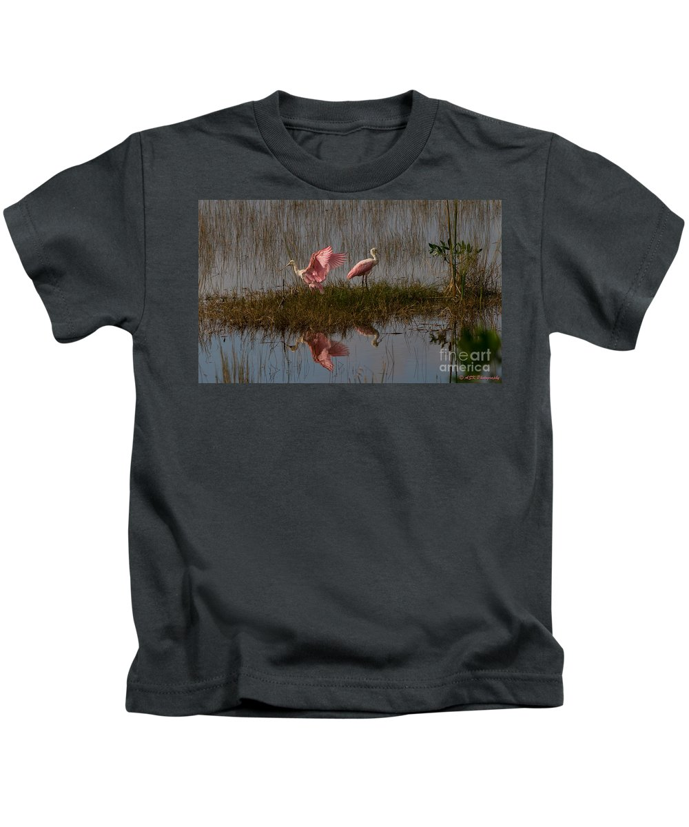 Birds Kids T-Shirt featuring the photograph Taking Flight by Amy S Klein