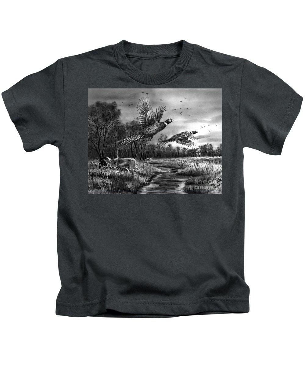 Taking Flight Kids T-Shirt featuring the drawing Taking Flight by Peter Piatt