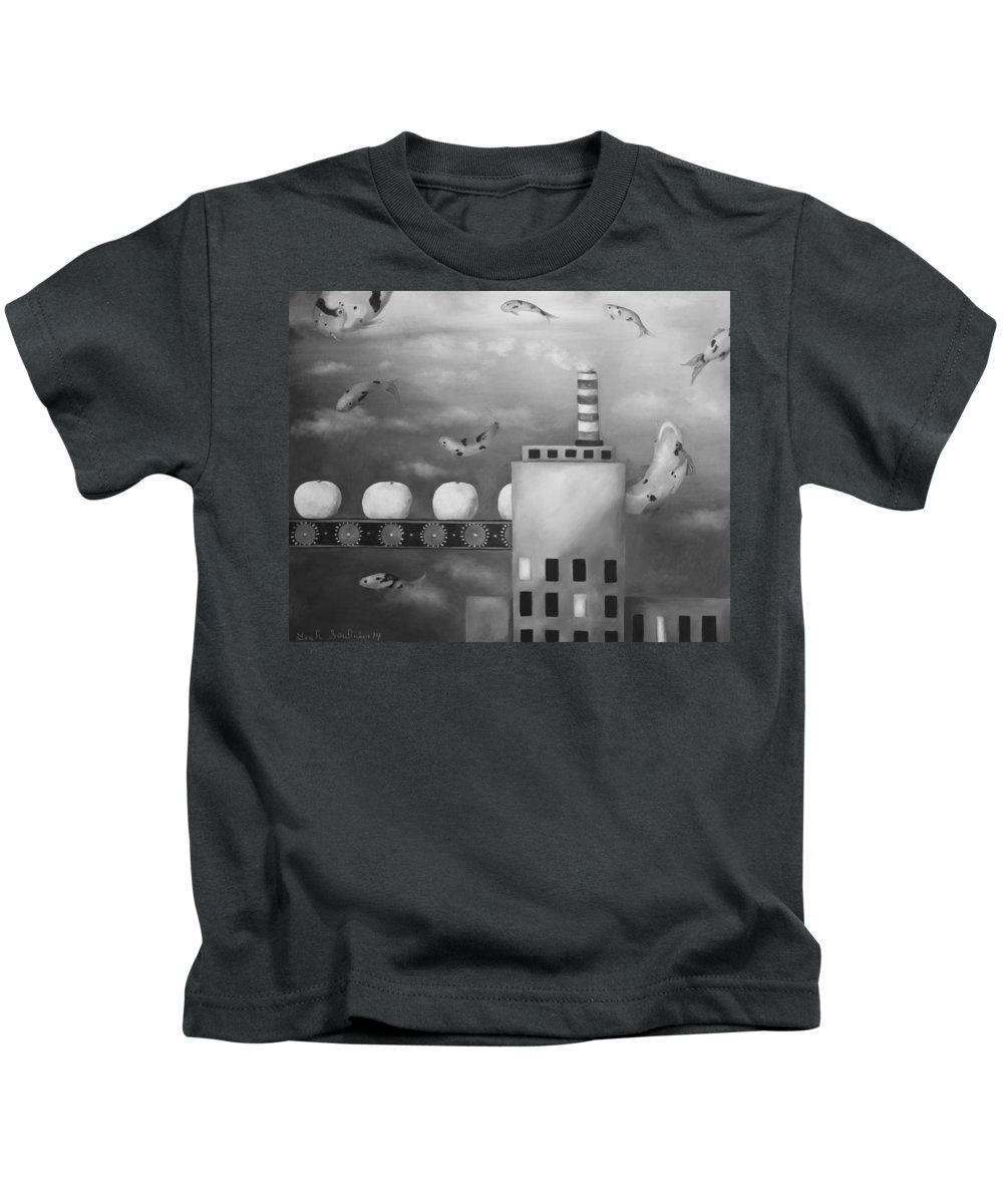 Tangerine Kids T-Shirt featuring the painting Tangerine Dream Edit 4 by Leah Saulnier The Painting Maniac