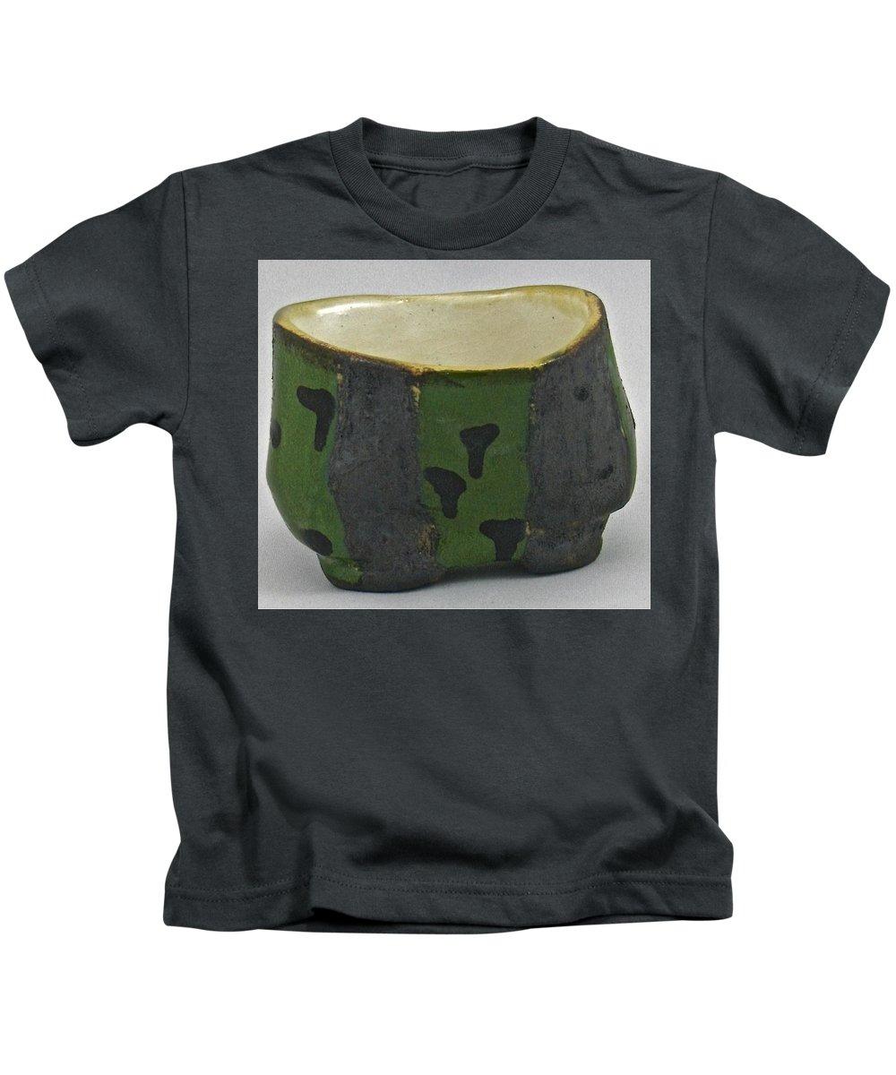 Tea Bowls Kids T-Shirt featuring the sculpture Tea Bowl #13 by Mario MJ Perron