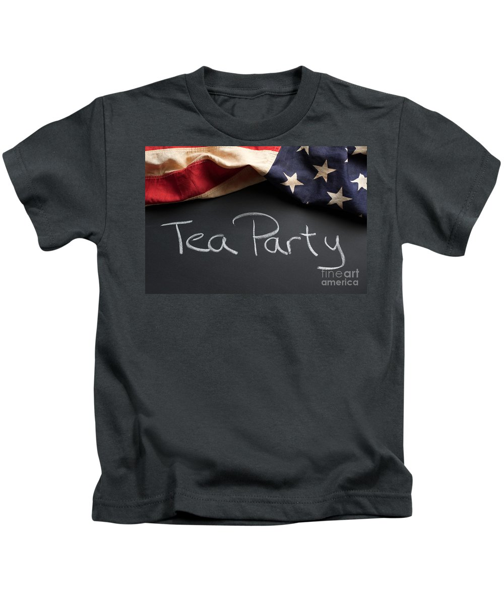 American Kids T-Shirt featuring the photograph Tea Party Political Sign On Chalkboard by Leslie Banks