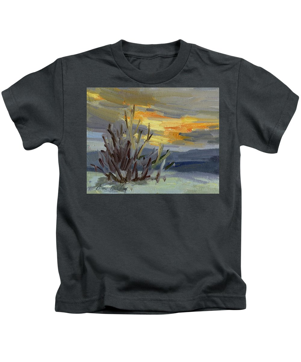 Teanaway Kids T-Shirt featuring the painting Teanaway Valley Winter by Diane McClary