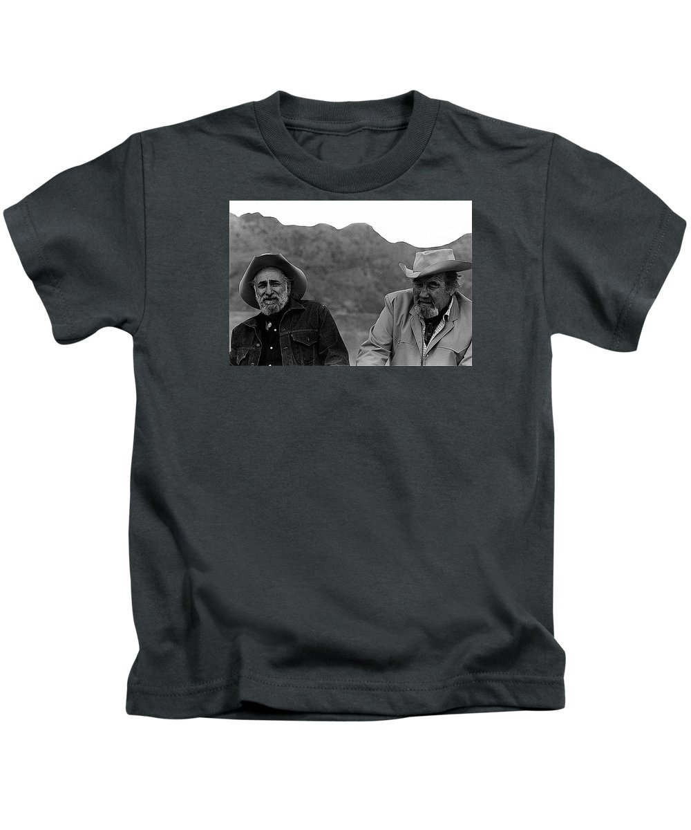 Ted Degrazia & Broderick Crawford Gallery In The Sun Tucson Arizona 3-1969-2009  Kids T-Shirt featuring the photograph Ted Degrazia And Broderick Crawford Gallery In The Sun Tucson Arizona 3-1969-2009  by David Lee Guss