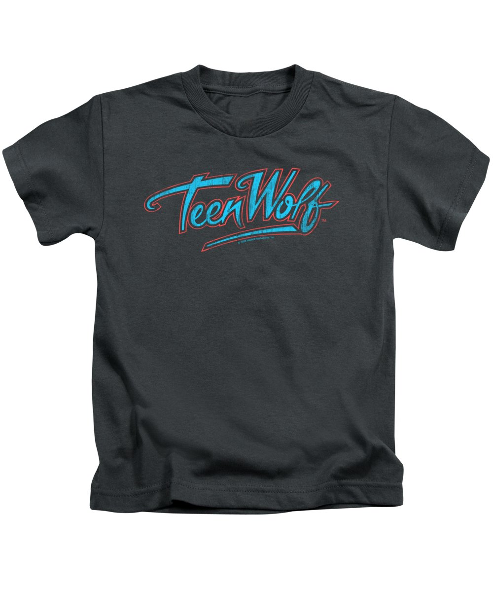 Kids T-Shirt featuring the digital art Teen Wolf - Neon Logo by Brand A