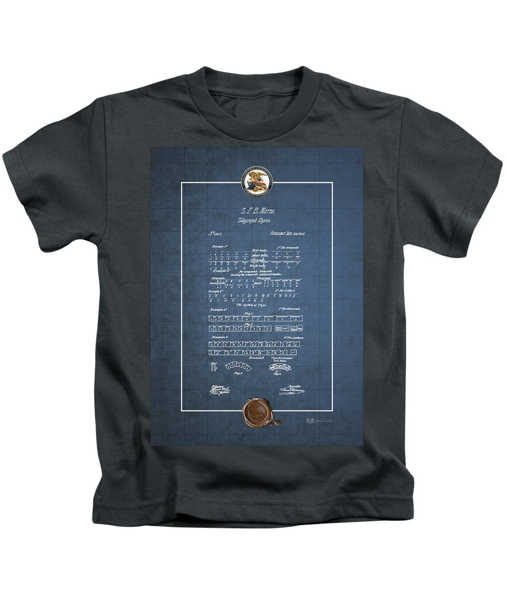 Telegraph Signs By S f b  Morse - Morse Code - Vintage Patent Blueprint  Kids T-Shirt