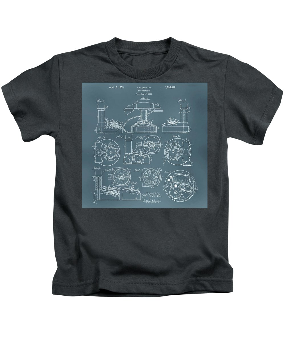 Patent Kids T-Shirt featuring the digital art Telephone Patent by Gina Dsgn