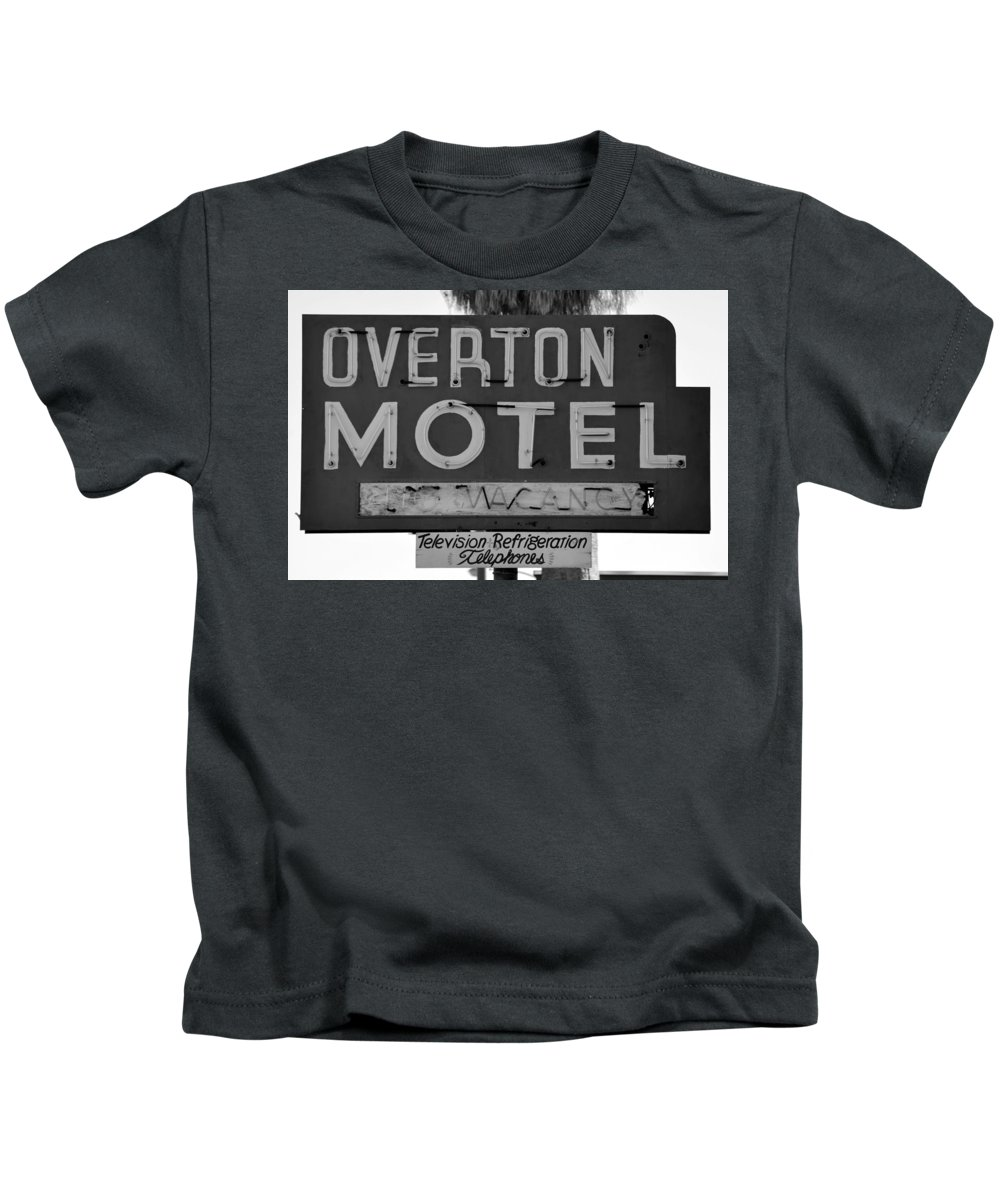 Americana Black And White Kids T-Shirt featuring the photograph Television Refigeration And Telephones by David Lee Thompson