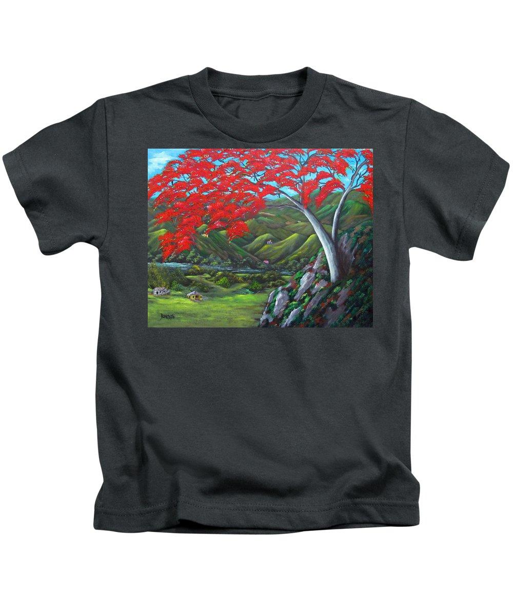 Flamboyant Kids T-Shirt featuring the painting Tesoro De Mi Isla by Gloria E Barreto-Rodriguez