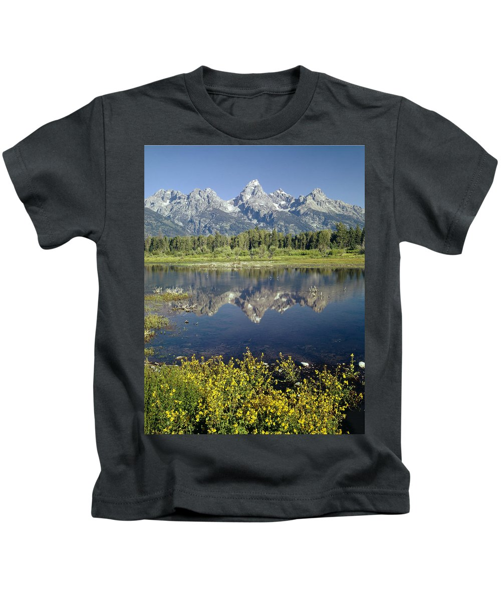 Blacktail Pond Kids T-Shirt featuring the photograph 4m9310-teton Range Reflection, Blacktail Pond, Wy by Ed Cooper Photography