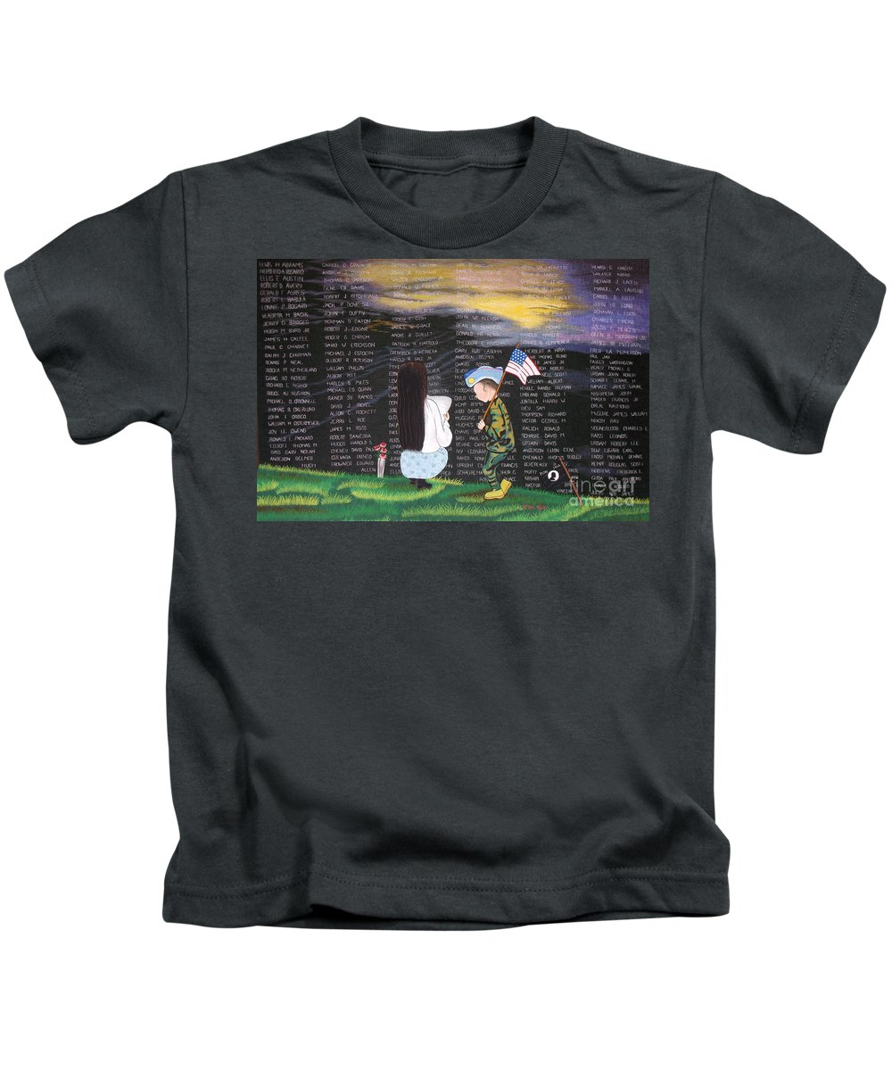 Memmorial Wall Kids T-Shirt featuring the tapestry - textile Thank You Again Hand Embroidery by To-Tam Gerwe